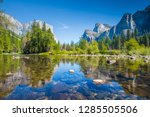classic view of scenic yosemite ... | Shutterstock . vector #1285505506