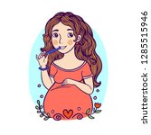 pretty pregnant woman is... | Shutterstock .eps vector #1285515946