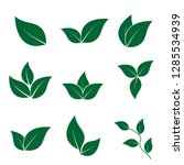 set green  leaves vector logo... | Shutterstock .eps vector #1285534939