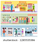 peoples on shoping and choosing ... | Shutterstock .eps vector #1285535386