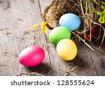 Colorful Easter Eggs In Brown...