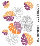 vector tropical pattern with... | Shutterstock .eps vector #1285583779