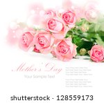 Stock photo tender pink roses isolated on white 128559173