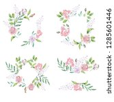 watercolor frame for wedding or ... | Shutterstock . vector #1285601446