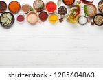 set of various spices and herbs ... | Shutterstock . vector #1285604863