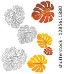 vector tropical pattern with... | Shutterstock .eps vector #1285611880