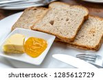 toast with butter and apple jam ... | Shutterstock . vector #1285612729