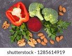 natural healthy vegetables good ... | Shutterstock . vector #1285614919