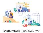 flat set with programmer ... | Shutterstock .eps vector #1285632790