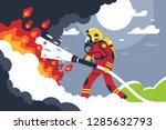 flat fire fighting man puts out ... | Shutterstock .eps vector #1285632793