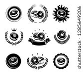 donut labels and elements set.... | Shutterstock .eps vector #1285649206