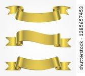 ribbon banner set. golden... | Shutterstock .eps vector #1285657453