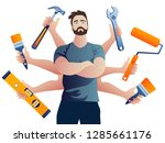 multi armed builder repairman.... | Shutterstock .eps vector #1285661176