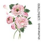 bouquet of beautiful watercolor ...   Shutterstock . vector #1285677850