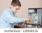 technician repairing computer... | Shutterstock . vector #128568116