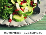 healthy fitness salad with... | Shutterstock . vector #1285684360