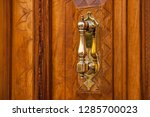 copper door handle. vintage... | Shutterstock . vector #1285700023
