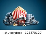 movie film reel and popcorn... | Shutterstock .eps vector #128570120