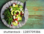 healthy fitness salad with... | Shutterstock . vector #1285709386