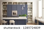 modern white kitchen with blue... | Shutterstock . vector #1285724839