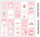 valentine's day background with ... | Shutterstock .eps vector #1285725529