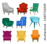 flat vector set of armchairs.... | Shutterstock .eps vector #1285726549