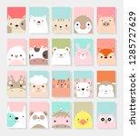 cute baby animal card cartoon... | Shutterstock .eps vector #1285727629