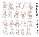 cute baby animal cartoon hand... | Shutterstock .eps vector #1285727929