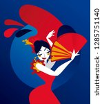 poster for flamenco night show  ... | Shutterstock .eps vector #1285751140