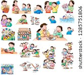 child's daily life | Shutterstock . vector #1285751806