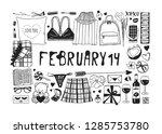 hand drawn fashion illustration ... | Shutterstock .eps vector #1285753780