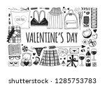 hand drawn fashion illustration ... | Shutterstock .eps vector #1285753783