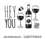 hand drawn fashion illustration ... | Shutterstock .eps vector #1285753810