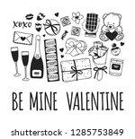 hand drawn fashion illustration ... | Shutterstock .eps vector #1285753849