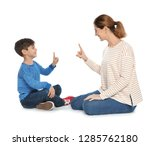 hearing impaired mother and her ... | Shutterstock . vector #1285762180