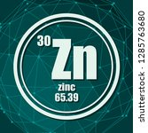 zinc chemical element. sign... | Shutterstock .eps vector #1285763680