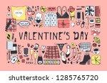 hand drawn fashion illustration ... | Shutterstock .eps vector #1285765720
