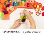 child makes a postcard flat lay.... | Shutterstock . vector #1285779670