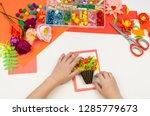 child makes a postcard flat lay.... | Shutterstock . vector #1285779673