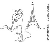 hugging couple and eiffel tower ... | Shutterstock .eps vector #1285780063