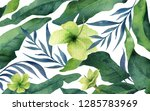 watercolor banner green... | Shutterstock . vector #1285783969