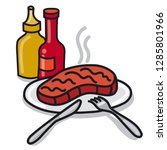 illustration of roasted steak... | Shutterstock .eps vector #1285801966