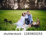 family on a picnic in the... | Shutterstock . vector #1285803253