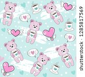 pink bear holds a cup of coffee ...   Shutterstock .eps vector #1285817569