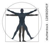 vitruvian man  silhouette. the... | Shutterstock .eps vector #1285820419