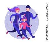 happy family in winter gear... | Shutterstock .eps vector #1285828930