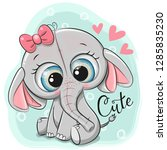 greeting card cute elephant...   Shutterstock .eps vector #1285835230