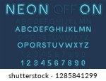 blue neon light glowing alphabet   Shutterstock . vector #1285841299