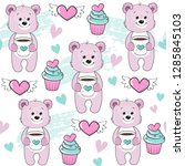 pink bear holds a cup of coffee ...   Shutterstock .eps vector #1285845103