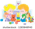 small children playing with... | Shutterstock .eps vector #1285848940